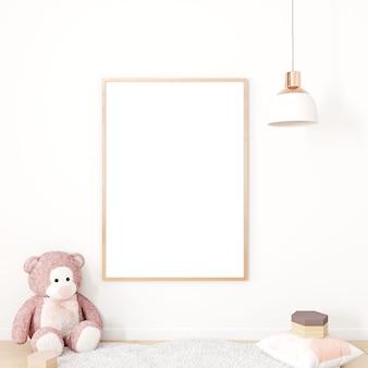 Maquette de cadre pour enfants et ours en peluche