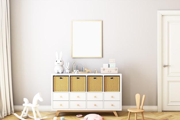 Maquette de cadre de style bohème dans la chambre de bébé
