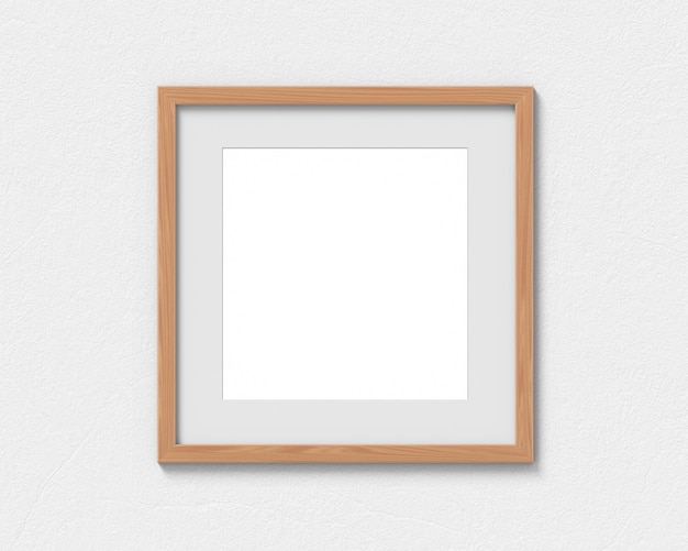 Maquette de cadres carrés en bois avec une bordure accrochée au mur. base vide pour image ou texte. rendu 3d.