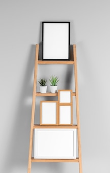 Maquette de cadres sur étagère