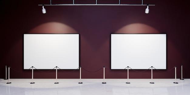 Maquette de cadres vierges dans un musée avec des projecteurs les éclairant et une barrière de sécurité