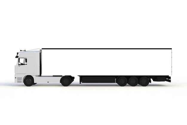 Maquette de camion blanc vue de côté isolé sur fond blanc, rendu 3d