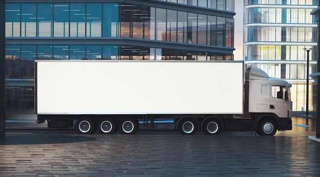 Maquette de camion sur la rue de la ville la nuit