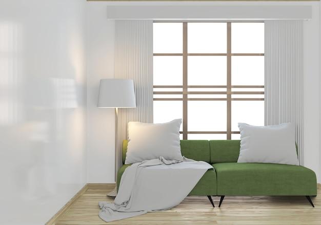 Maquette de canapé vert et plantes de décoration
