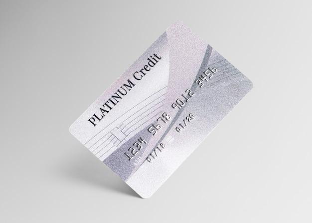 Maquette de carte de crédit platine argent et services bancaires