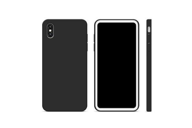 Maquette de cas de téléphone noir vierge