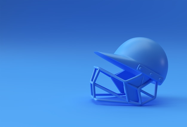Maquette de casque de cricket de rendu 3d réaliste isolé sur fond bleu