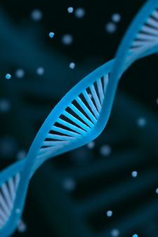 Maquette de chaîne d'adn colorisée en bleu