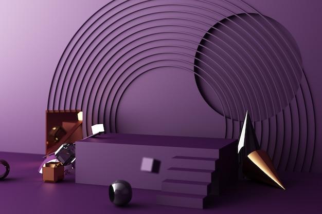 Maquette composition de la forme géométrique de l'or et de la texture du verre avec un podium de couleur violette pour le produit