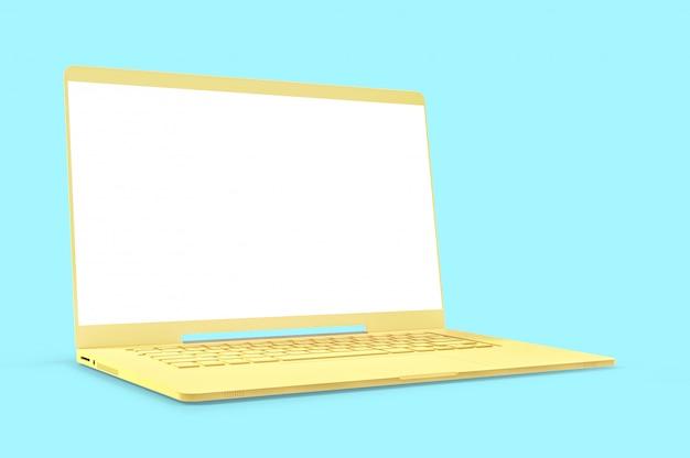 Maquette concept pastel pour ordinateur portable couleur jaune