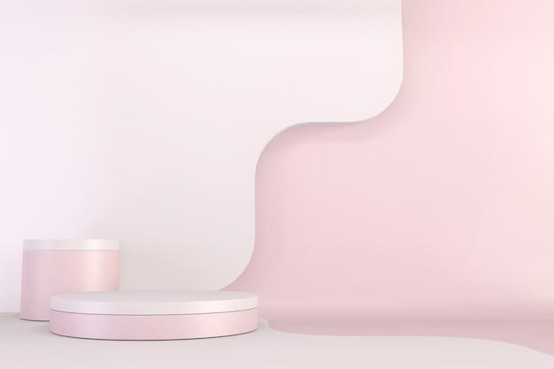 Maquette de conception de piédestal rose minimal pour l'exposition du produit, le rendu