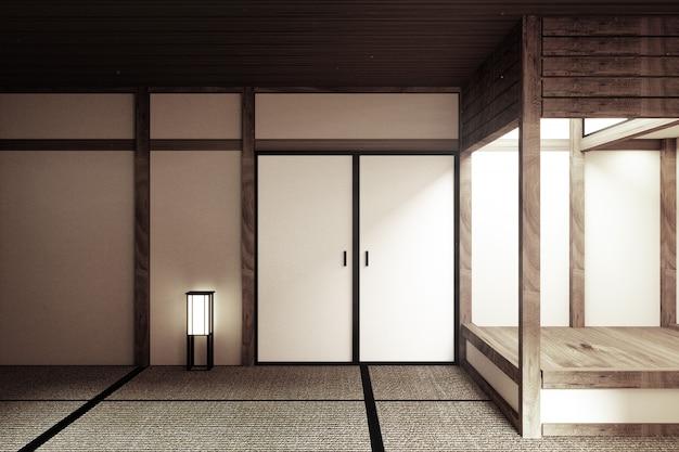 Maquette, conçue spécifiquement dans un style japonais, pièce vide. rendu 3d