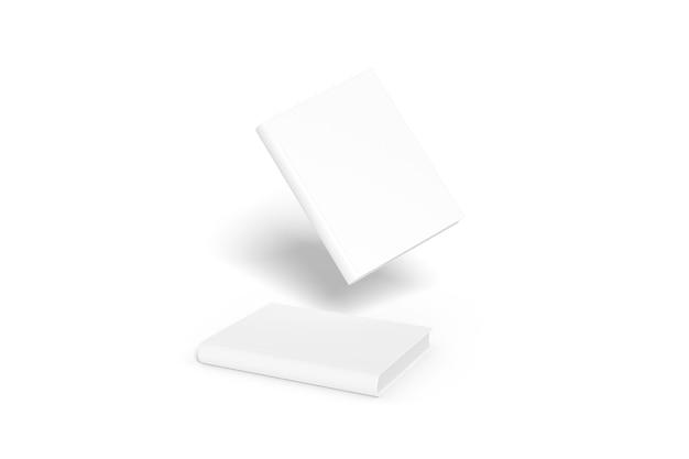 Maquette de couverture de livre vierge isolée sur fond blanc.