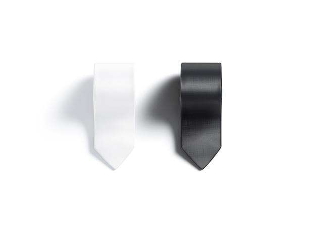 Maquette de cravate enroulée en noir et blanc vierge isolée accessoire plié vide pour maquette de gentleman