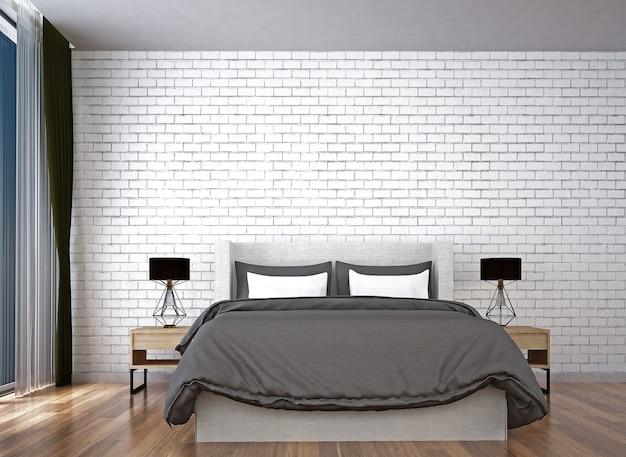Maquette de décor et de meubles et chambre à coucher et mur de briques blanches texture fond design d'intérieur