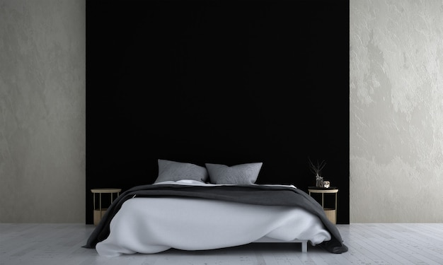 Maquette de décor de meubles dans un intérieur de chambre de style moderne et fond de mur noir