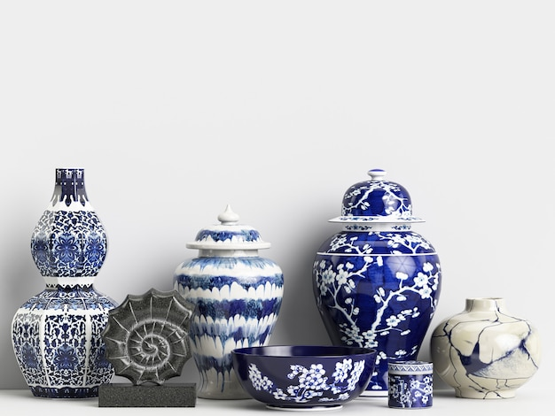 Maquette de décoration intérieure avec des pots de gingembre chinois et des coraux