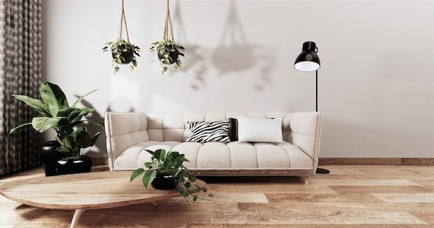 Maquette de décoration de salon contemporaine de style japonais, style zen minimal ed