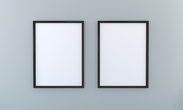 Maquette à deux cadres sur mur gris présentation artwork3d rendering