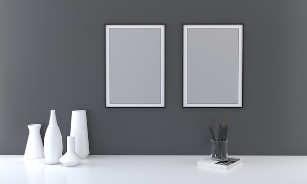 Maquette à deux cadres avec des vases sur un mur sombre rendu 3d