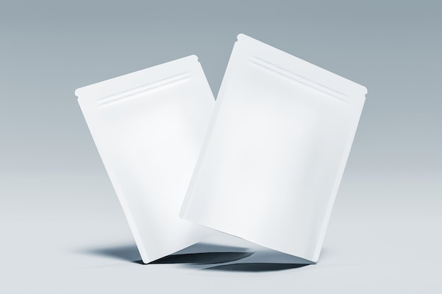 Maquette de deux sacs de suppléments en suspension dans l'air