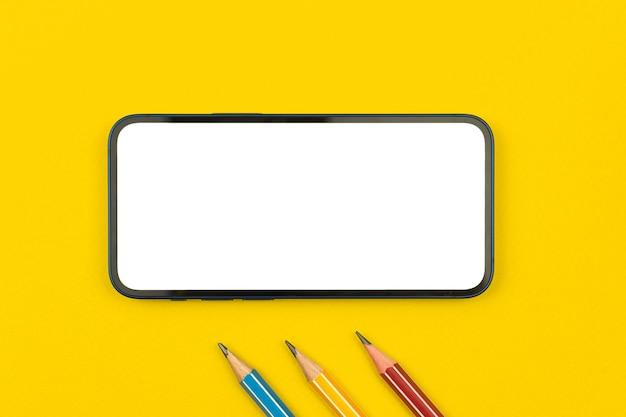 Maquette d'école avec écran, espace de copie, bureau de table jaune avec crayons et téléphone portable, photo vue de dessus
