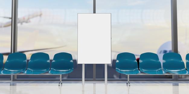 Maquette de l'écran d'information de l'aéroport avec des sièges et des avions sur la piste derrière la fenêtre. rendu 3d
