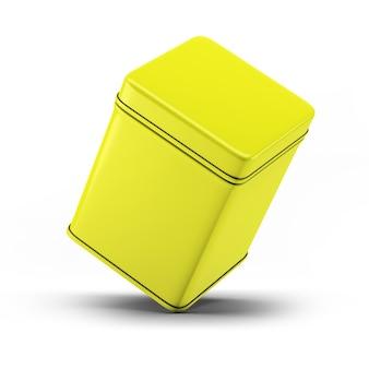 Maquette d'emballage de boîte de conserve carrée jaune pour votre projet de conception - illustration 3d de maquette isoler sur fond blanc.