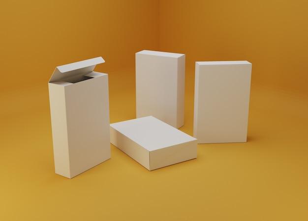 Maquette d'emballage de boîtes blanches. illustration 3d