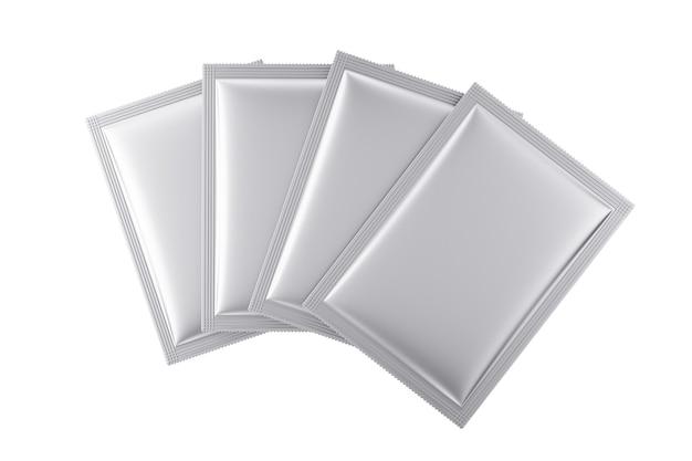 Maquette d'emballages de sacs vierges en aluminium sur fond blanc. rendu 3d