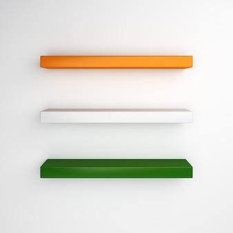 Maquette d'étagère vide avec la couleur du drapeau de l'inde ou de l'irlande