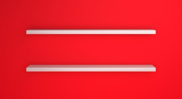 Maquette d'étagère vide avec la couleur du drapeau de l'indonésie ou du polland