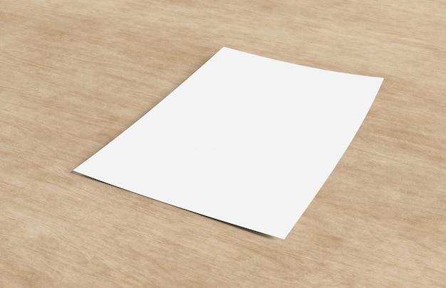 Maquette d'une feuille de papier isolé sur un fond avec ombre - rendu 3d