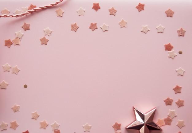 Maquette de fond rose mignonne avec des étoiles
