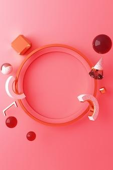 Maquette de forme géométrique en forme d'or et de verre avec un podium de couleur rose pour le produit