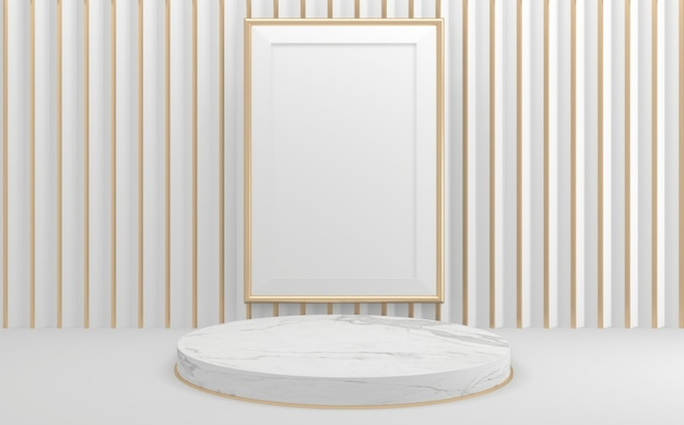 La maquette géométrique de rendu 3d de style podium blanc vide