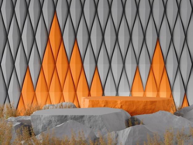 Maquette graphique 3d fond gris orenge contraste couleur concept rendu 3d