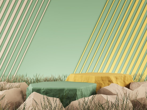 Maquette graphique 3d fond vert couleur jaune concept rendu 3d