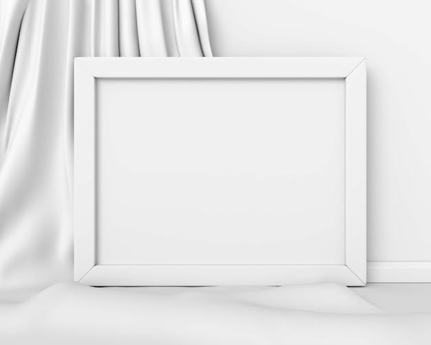 Maquette horizontale de cadre blanc sur une image abstraite de fond de tissu blanc. entreprise d'art conceptuel minimal. rendu 3d.