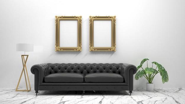 Maquette image affiche avec fond intérieur, rendu 3d