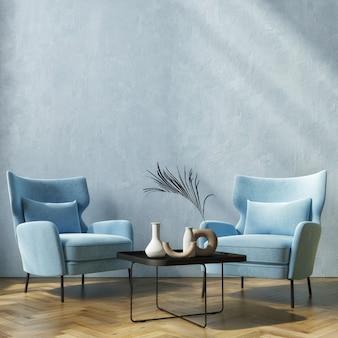 Maquette d'intérieur de maison moderne avec table de canapé blanche et décoration dans le salon