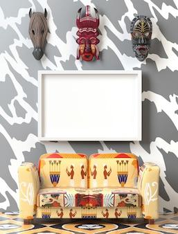 Maquette intérieur tribal. canapé moelleux avec revêtement ethno coloré