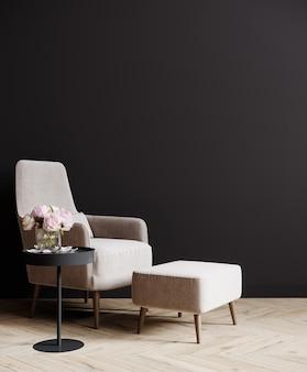Maquette intérieure de salon sombre avec mur noir vide