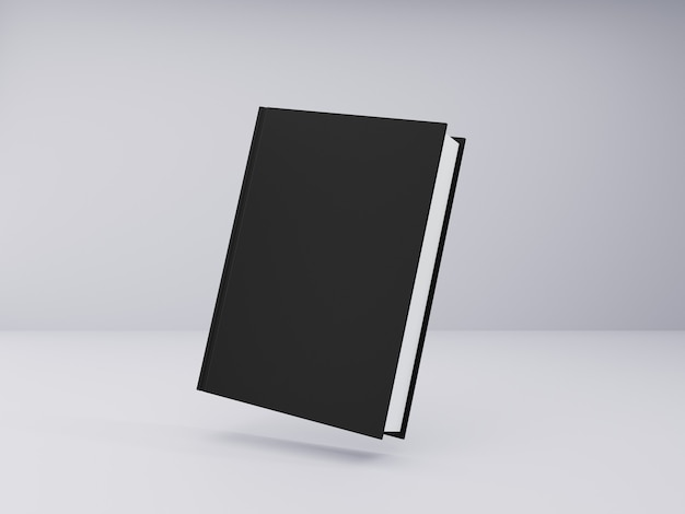 Maquette de livre avec couverture rigide noire sur fond gris