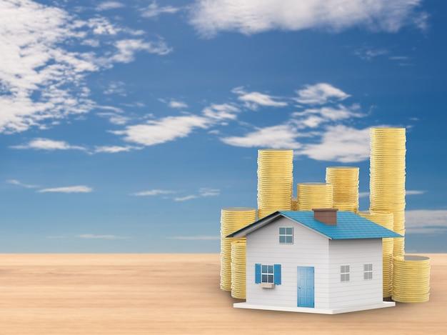Maquette de maison avec des pièces d'or sur fond de ciel bleu