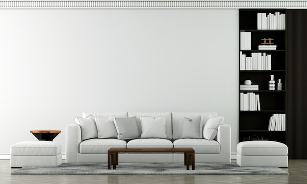 Maquette de meubles et design d'intérieur de salon de luxe moderne et décoration de meubles