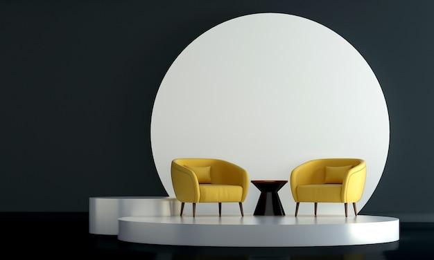 Maquette de meubles et design d'intérieur de salon minimal et confortable et décoration de meubles