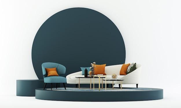 Maquette de meubles et design d'intérieur de salon moderne et décoration de meubles