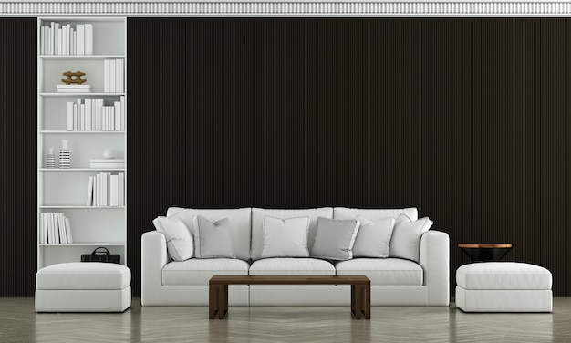 Maquette de meubles et design d'intérieur de salon de mur noir de luxe moderne et décoration de meubles