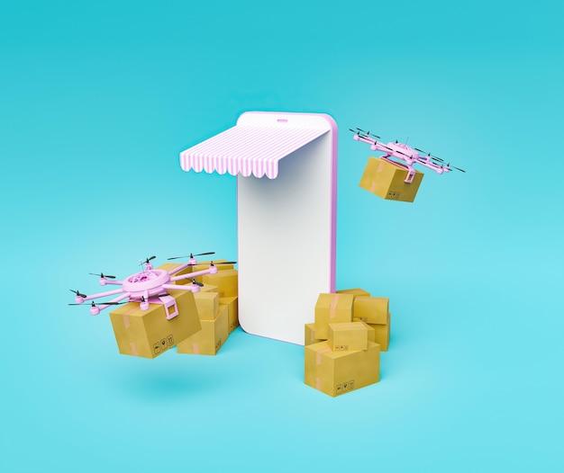 Maquette minimaliste de téléphone mobile avec auvent et emballages autour de lui avec des drones livrant